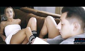 European MILF blonde seduces her man with her hot feet