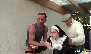Juvenile french nun screwed hard beside triple encircling papy voyeur