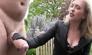 Chubby chap with big cock getting a handjob s&m