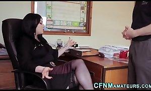 Cfnm office domina sucks cock