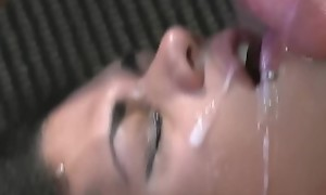 Foursome Trans Orgy in California massive Bukkake Cum on a T-girl Mouth