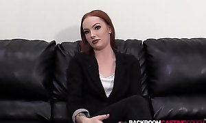 Petite redhead auditions for facial after big cock cowgirl