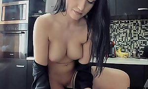 Masturbating in the kitchen