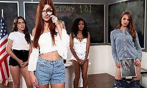 Pair for hot babes playing inverted jubilation in the classroom
